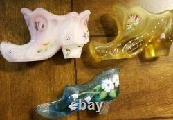 13 PC FENTON QVC Family Signature Victorian Glass Shoe Collection Hand Painted