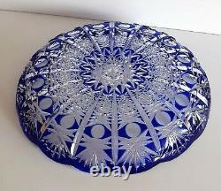 Ajka Caesar Cobalt Blue Cut To Clear Bowl / Centerpiece, New, Not Marked