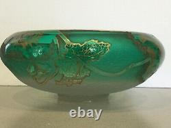 Antique Art Nouveau French Art Glass Mont Joye LEGRAS Gilt Floral Console Bowl