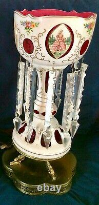 Antique Bohemian 18 Mantle Luster Lamp. White Cut-to-Cranberry, Crystal Prisms
