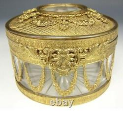 Antique French Queen Marie Antoinette Roses Bronze Ormolu Cut Crystal Hinged Box