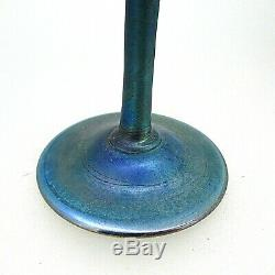 Antique L. C. Tiffany Favrile Blue iridescent Art Glass Fluted Bud Vase (#1504)
