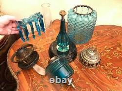 Antique Limited Edition Kerosene Lamp Blue Crystal Glass Hinks & Son 74 cm Tall