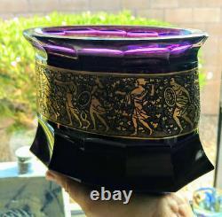 Antique Moser 1890 Amethyst 12 Facet Vase Gold Warrior Frieze 2.5 Heavy Rare