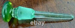 Art Deco Rare Czech 1930's Vaseline Glass Perfume Bottle Dauber-Stopper, Fine