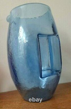 Art Nouveau 1905 Koloman Moser Kristall Krocodil Blue Crystal Glass Jug Vase