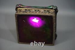 Art Nouveau Bohemian Loez Kralik Glass Square Purple Iridescent Desk Inkwell