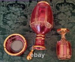 Art Nouveau Moser 1900's Rare Gorgeous Decanter, Goblet, Ashtray & Stopper