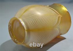 Art Nouveau Quezal Art Glass Favrile Feather Design Single Lamp Shade