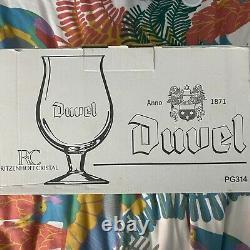 Artist Piet Parra Set of 6 Duvel Limited Edition Tulip Beer Glasses