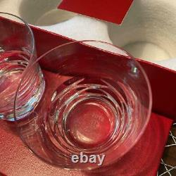 Baccarat LOLA 2012 Year Tumbler Pair Crystal Glass Clear Rock Set Japan Limited