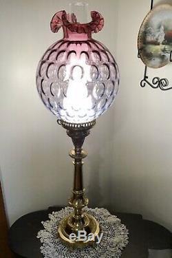 Beautiful Fenton Art Glass Mulberry Coin Dot Optics Pillar Lamp N8