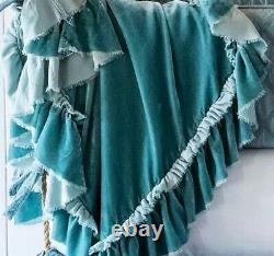Bella Notte LIMITED EDITION QUEEN Silk Velvet Coverlet in SEA GLASS! LOULAH