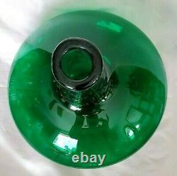 Blenko Emerald Green Bulbous Glass Decanter #6716 Wayne Husted Clear Stopper