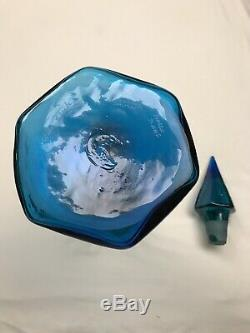 Blenko Glass 2018 WV Day Decanter Blue and Green Fade