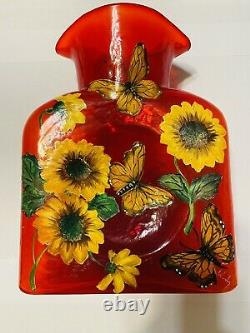 Blenko Glass Water Bottle Limited Edition Fireball Red Hand Painted 384