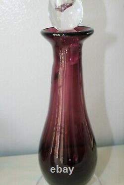 Blenko Handcrafters Amethyst Glass Decanter with Flame Stopper