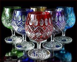 Bohemia Colored Crystal Brandy Glasses 14 cm, 350 ml, Memfis 6 pc New