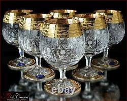 Bohemia Crystal Brandy Glasses 14 cm, 350 ml, Caezar Gold 6 pc New