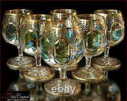 Bohemia Crystal Brandy Glasses 14 cm, 350 ml, Versal Izumrud 6 pc New