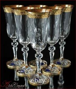 Bohemia Crystal Champagne Glasses 21 cm, 180 ml, Annetta Gold 6 pc New