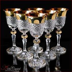 Bohemia Crystal Liqueur Glasses 15 cm, 60 ml, Versace Gold 6 pc New