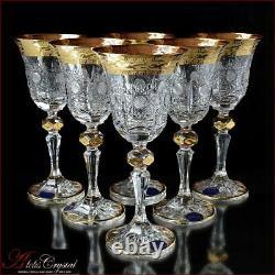 Bohemia Crystal Liquor Glasses 15 cm, 60 ml, Caezar Gold 6 pc New