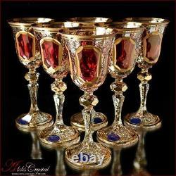 Bohemia Crystal Liquor Glasses 15 cm, 60 ml, Versal Rubin 6 pc New