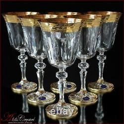 Bohemia Crystal Wine Glasses 20 cm, 220 ml, Annetta Gold 6 pc New