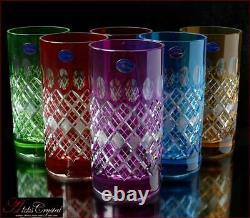 Bohemian Colored Crystal Water Glasses 16 cm, 300 ml, Memfis 6 pc New