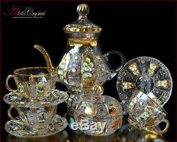 Bohemian Crystal Tea Set 300ml/1250ml, Shaherezada Gold 14 pc New
