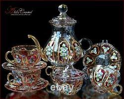 Bohemian Crystal Tea Set 300ml/1250ml, Versal Rubin 14 pc New