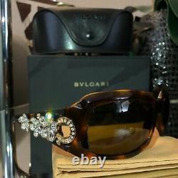 Bvlgari Sunglasses Swarovski Crystal Limited Edition 856-B Gold Brown VERY RARE
