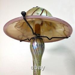 Carl Radke 16.5 Mushroom Glass Lamp Atomic Hand Blown Iridescent Swirl Art