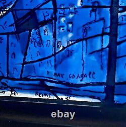 Chagall Vtg Mid Century Modern Stained Glass Window Panel Art Institute Chicago