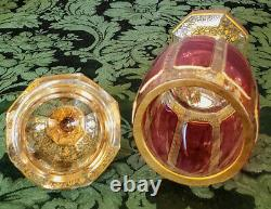 Egermann-Moser Rare Early1900's Hand Made Ruby Cabachons Gold Gilded Chalice Lid