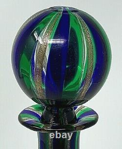 Exquisite Italian AVENTURINE Murano Venetian Glass Decanter 24K GOLD, BLUE GREEN