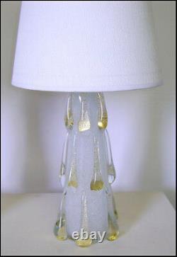 Extremely Rare Murano Barovier Pulegoso Glass Golden Drops Lamp 1950