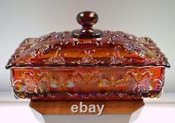 FENTON CANDY BOX Ruby Carnival BUTTERFLY FAGCA EXCL 1978 Souvenier FREEusaSHIP