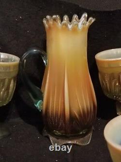 FENTON GLASS AQUA CACTUS WATER SET OPALESCENT pitcher and 6 goblets