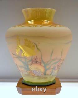 FENTON VASE Yellow Burmese Irid Sand Carved SEASCAPE 8817QZ Connoiss FREEusaSHIP