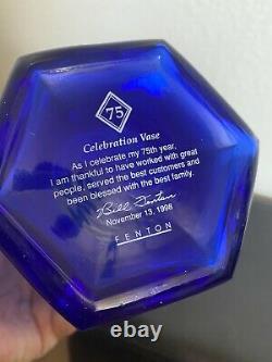 Fenton 75th anniversary Celebration Vase Hand Painted & signed Bill Fenton Blue