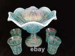 Fenton AQUAMARINE HOBSTAR CARNIVAL Punch Bowl Set 4 glasses 2005 Platinum Aqua