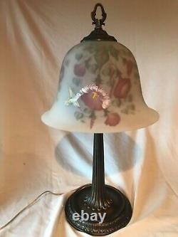 Fenton Art Glass Connoisseur Collection 1994 Reverse Painted Hummingbird Lamp
