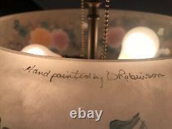 Fenton Art Glass Connoisseur Collection 1995 Hand Painted Floral Lamp
