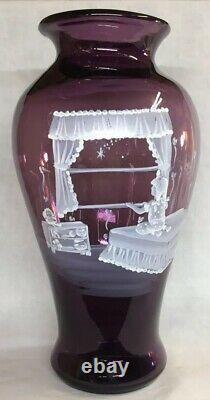 Fenton Art Glass Hand Painted Twinkle Twinkle Mary Gregory On Aubergine Vase