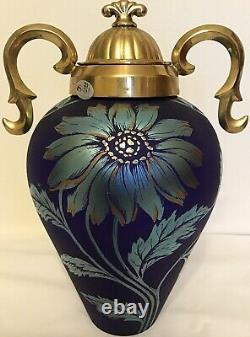 Fenton Art Glass Limited Edition Favrene Sand Carved Daisy Vase With Metal LID