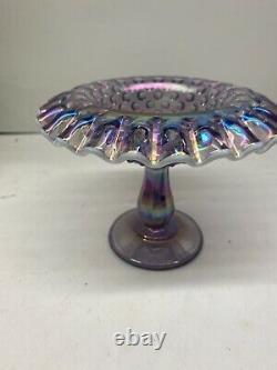 Fenton Art Glass Purple Carnival 3 pc hobnail fairy lamp snow crest