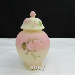 Fenton Burmese FAGCA Butterfly and Floral Hand Painted Temple Jar 1996 W286
