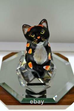 Fenton CAT Perky Black Satin CANDY CORN by Vicki Curren 2020 OOAK FREEusaSHP